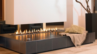 Suspended fireplace Linefire Leather