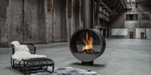 black steel fireplace