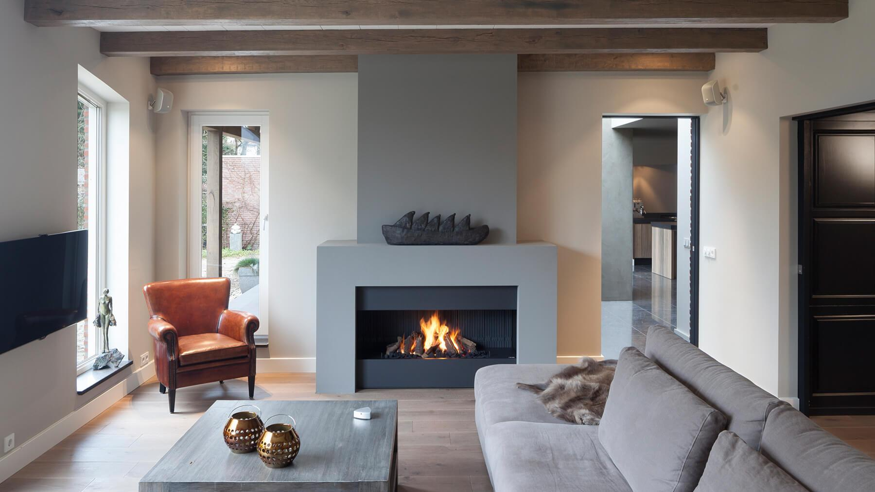 ... contemporary fireplace ...