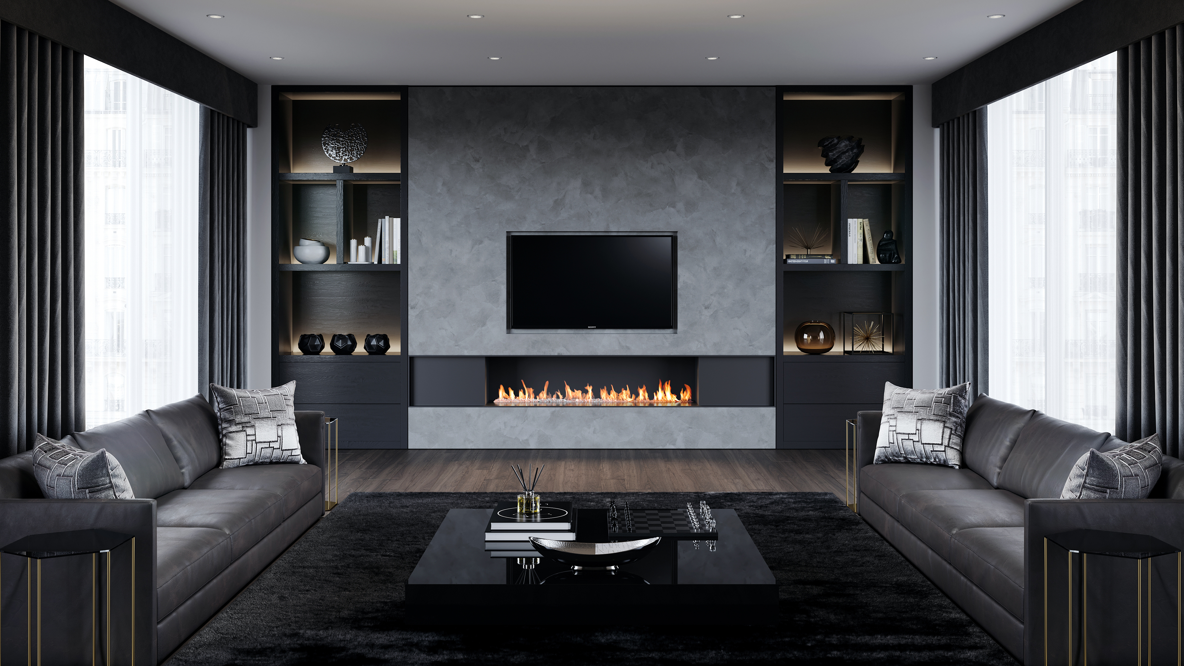 grey and black living room top 10 bespoke fireplace design trends of 2018 18050