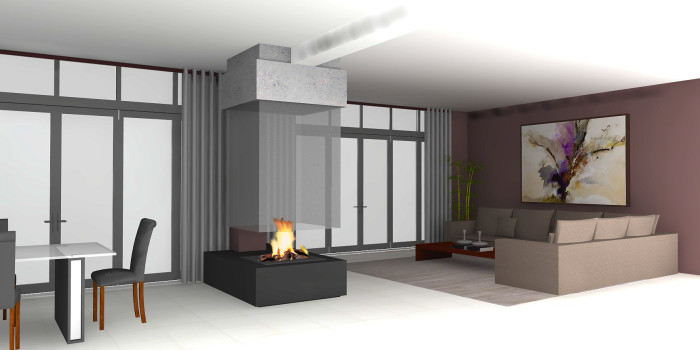suspended fireplace design
