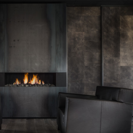 Bluesteel modern fireplace