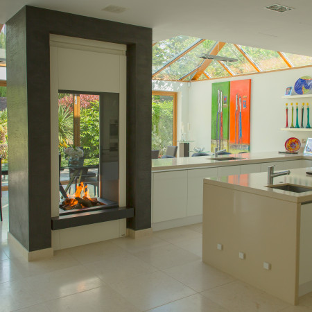indoor/outdoor frameless bespoke fireplace