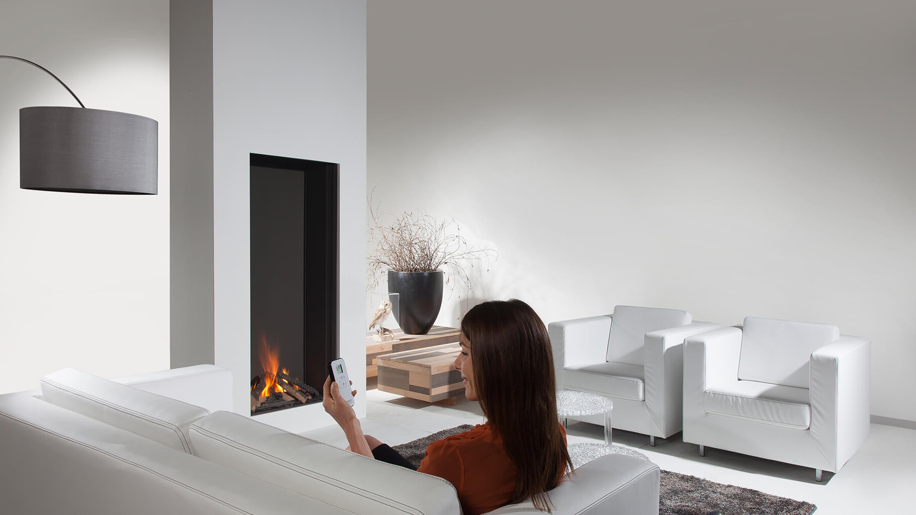 850 Closed Modern Balanced Flue Gas Fire Wall Fire