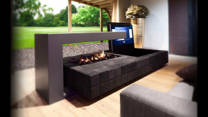 bespoke double sided fireplace with TV