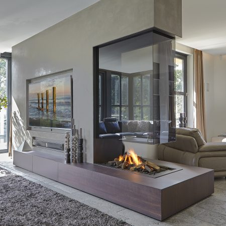 bespoke gas fire with glass