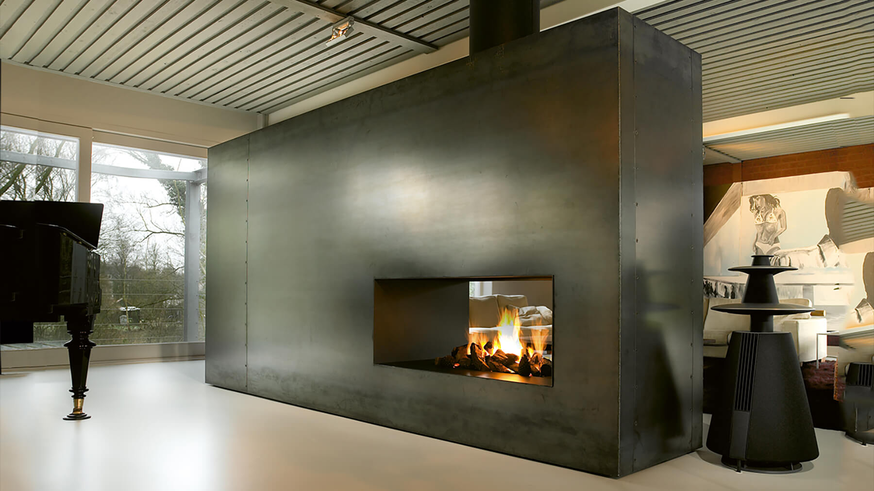bespoke two sided fireplace