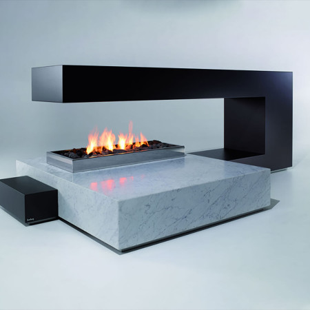 contemporary two sided paperclip fireplace