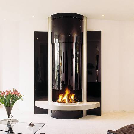 luxury glass fireplace
