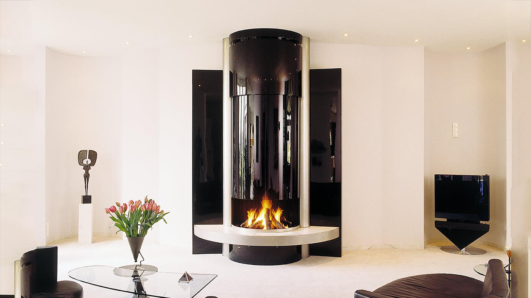 luxury glass fireplace