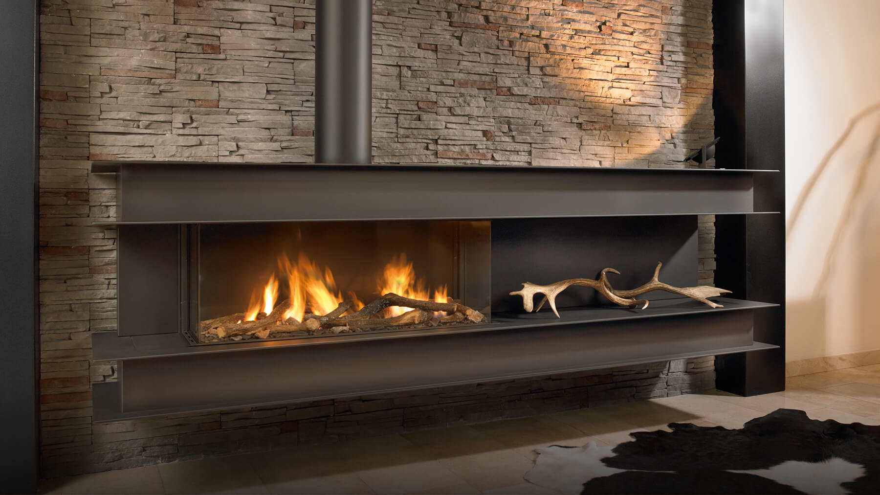 Seno modern wall hung gas fire high efficiency gas fire for Contemporary ventless gas fireplaces