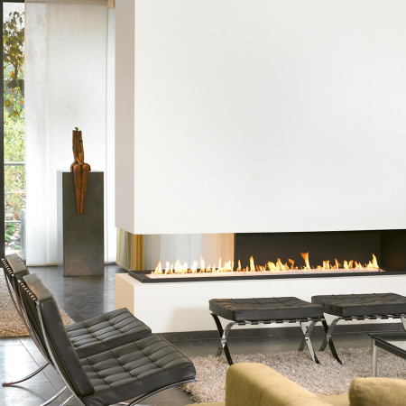 contemporary three sided fireplace