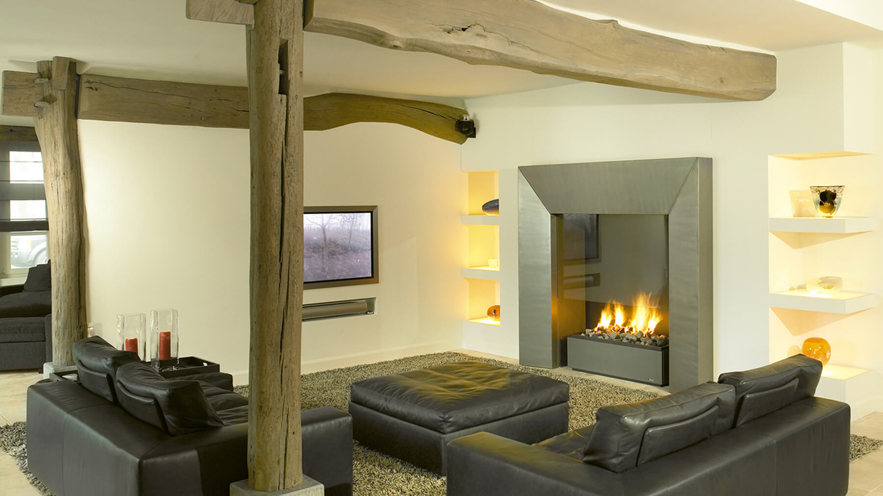 contemporary wall fireplace
