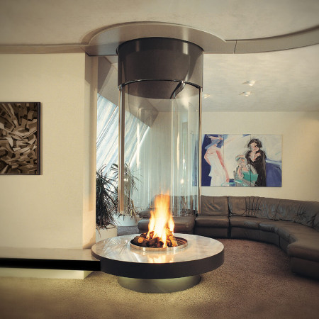 ceiling hung fireplace