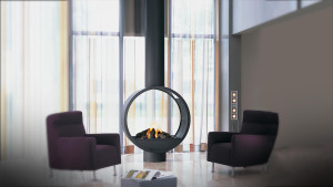 double sided modern circular fireplace