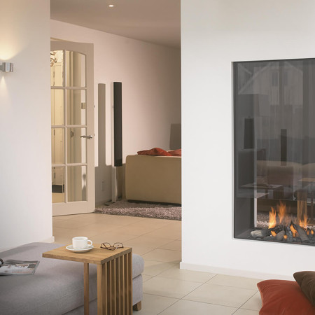 double sided fireplace in living room