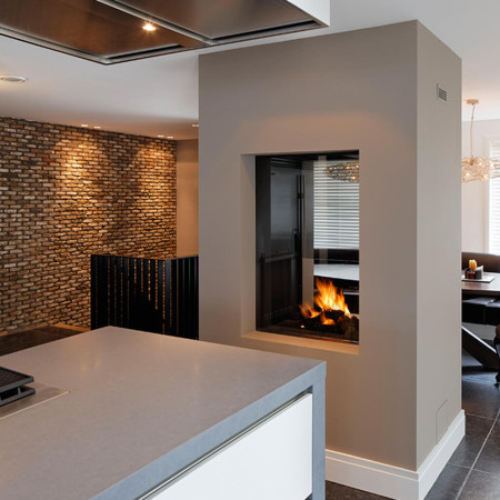 double sided fireplace kitchen