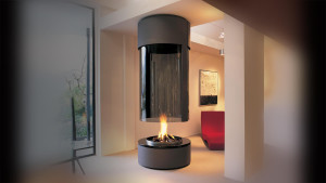 hanging fireplace circular modern gas fire