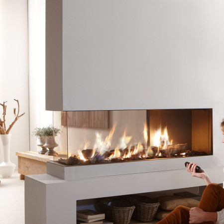 treble sided gas fire