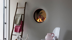 circular hole in the wall gas fire