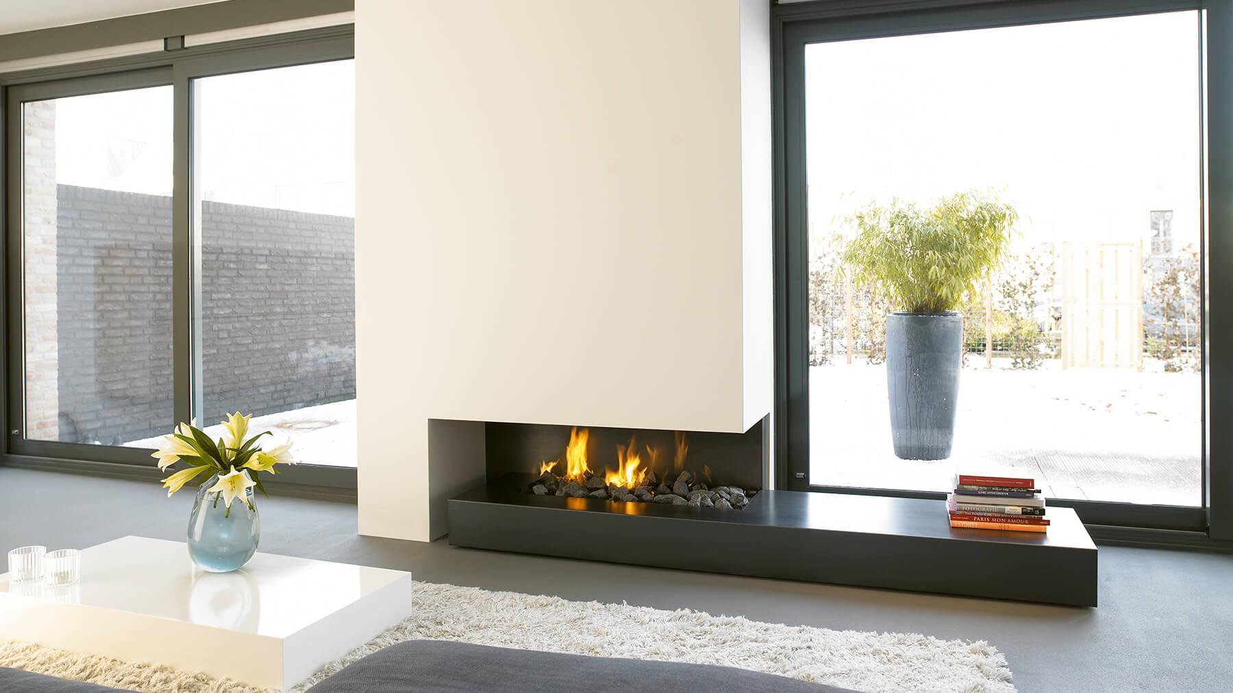 Bespoke fireplace i designer fireplace for Long modern fireplace
