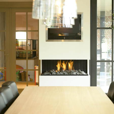modern three sided wall fireplace