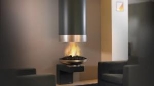 suspended unique fireplace design