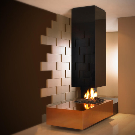 modern suspended fireplace