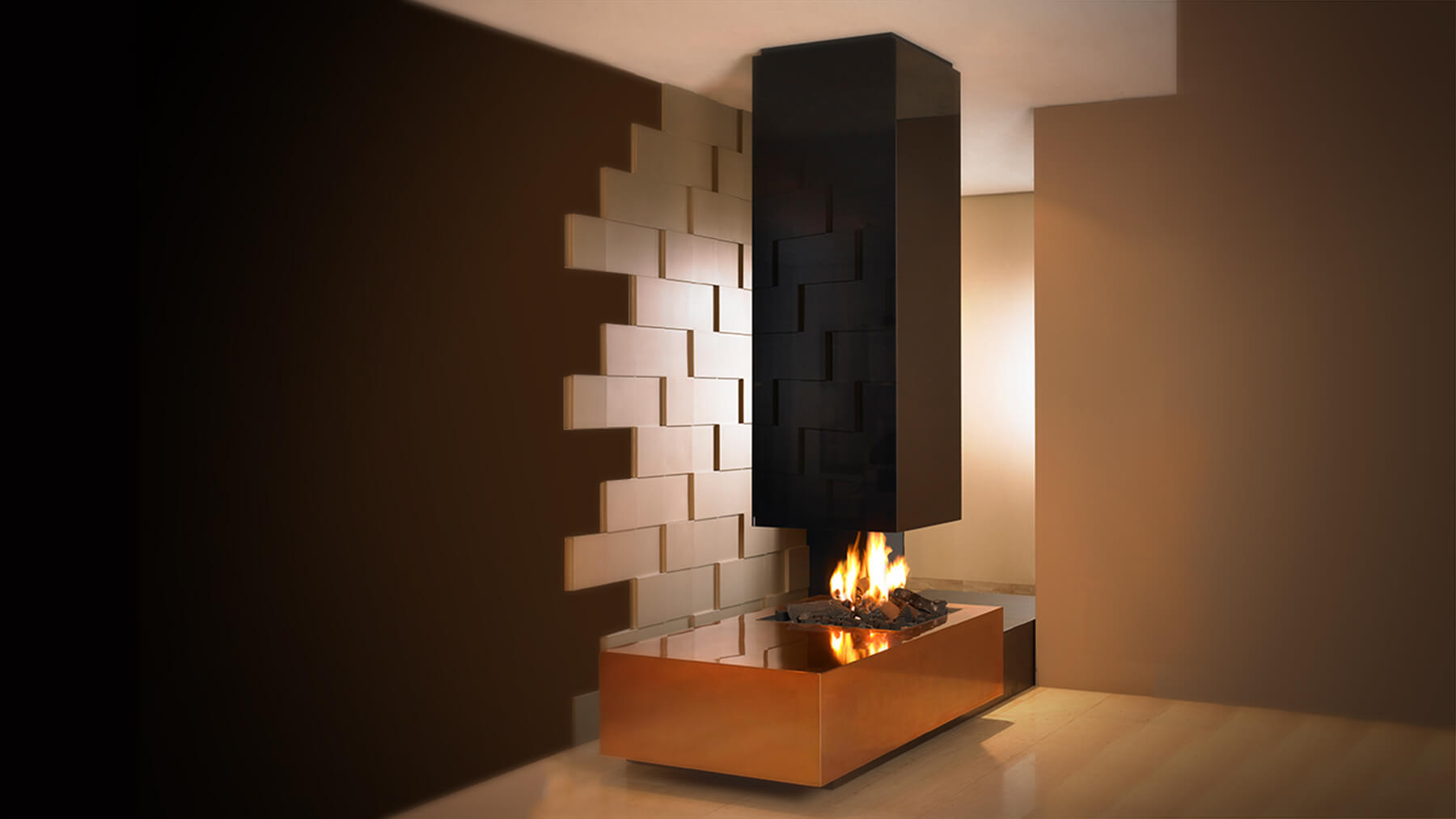 67 Black Gold Hanging Fireplace Modus Fireplaces