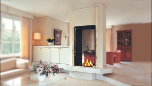 two sided double fireplace