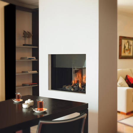 two sided wall fireplace