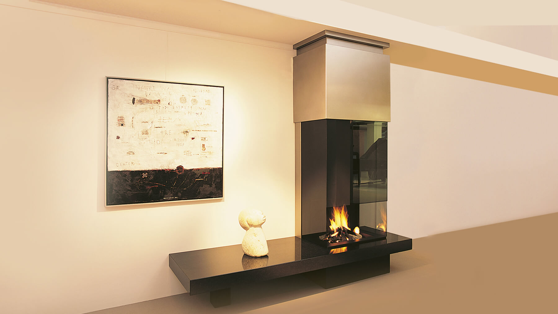 modern wall fire with glass