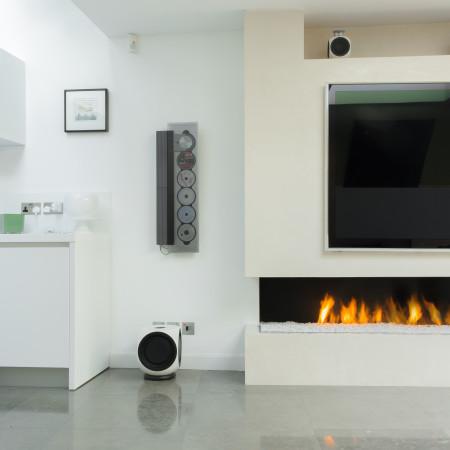 modern corner fireplace
