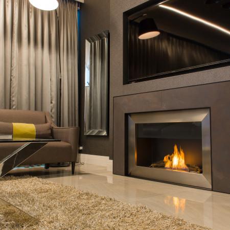 modern open wall fire surround
