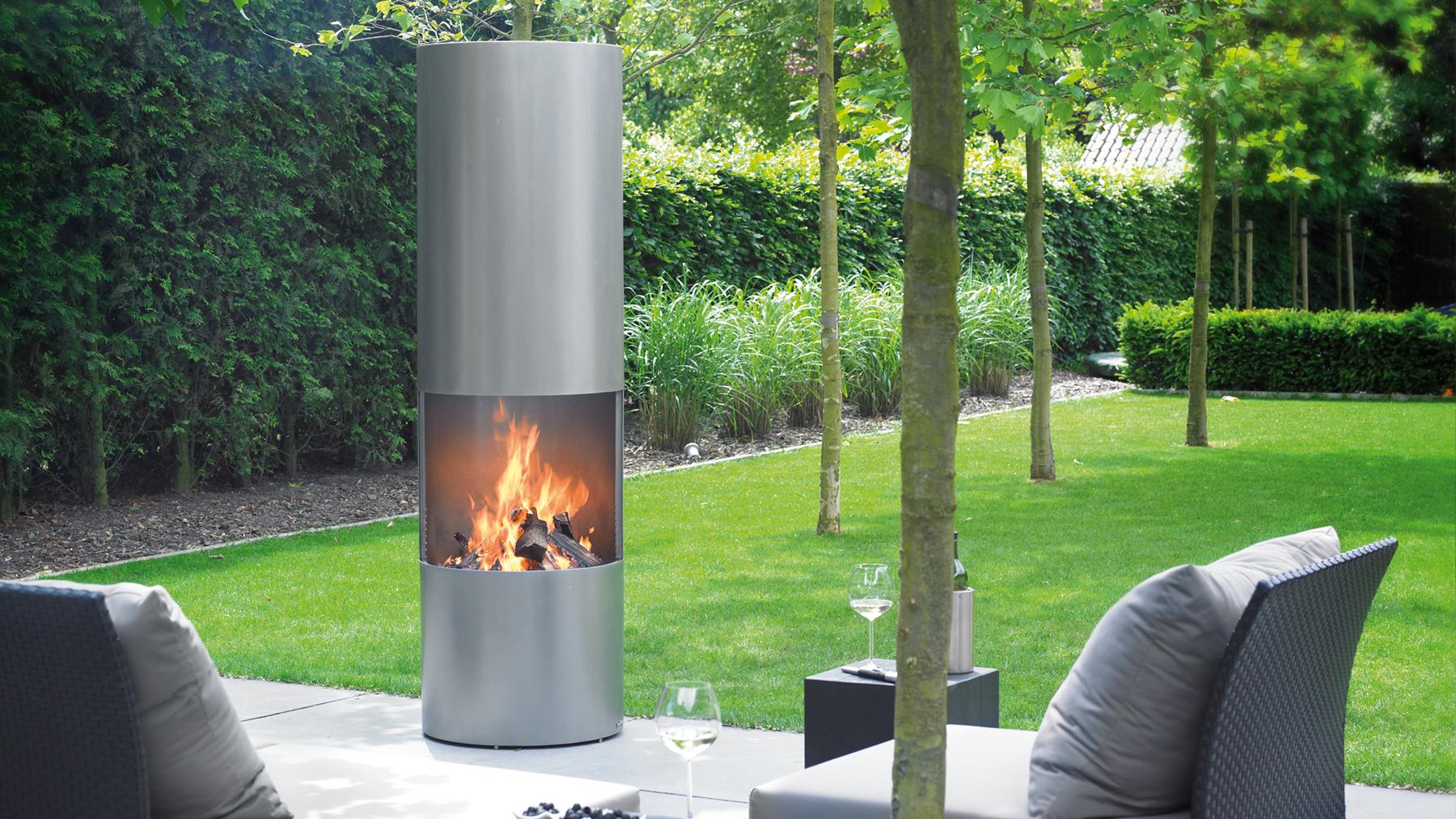circular outdoor wood fire