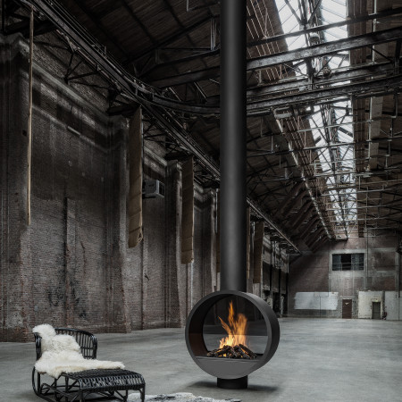 black steel double sided fireplace
