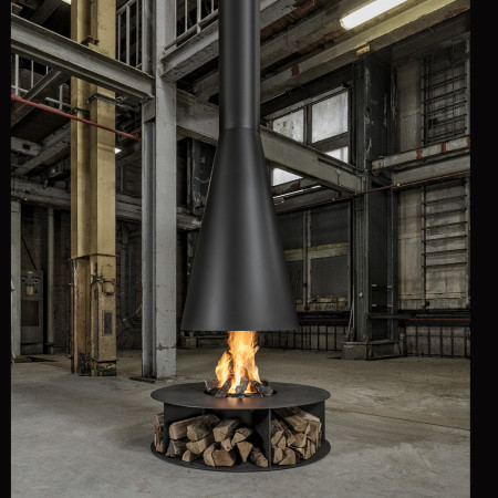 amazing suspended conical fireplace