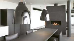 contemporary kitchen fireplace