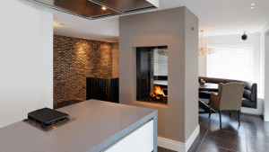 double sided feature fireplace