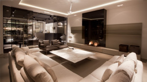 glass fronted contemporary wall fire