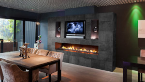 leather designer fireplace