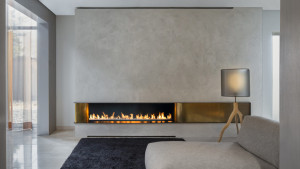 modern copper fireplace design