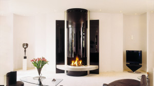sculptured suspended glass fireplace