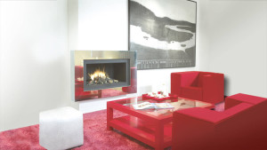 stainless modern fireplace