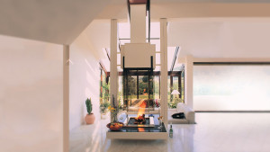 top class glass designer fireplace