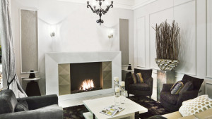 white and gold designer fireplace