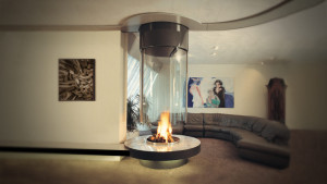 suspended glass fire