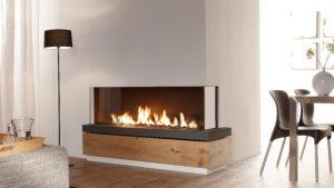 corner frameless bespoke fireplace