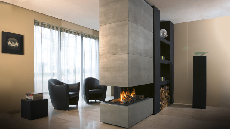 three sided frameless bespoke fireplace