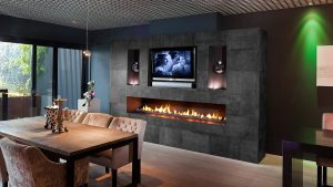 front facing frameless bespoke fireplace